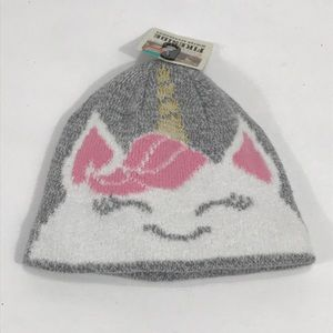Fireside Pink, Gray, White and Gold Unicorn Beanie